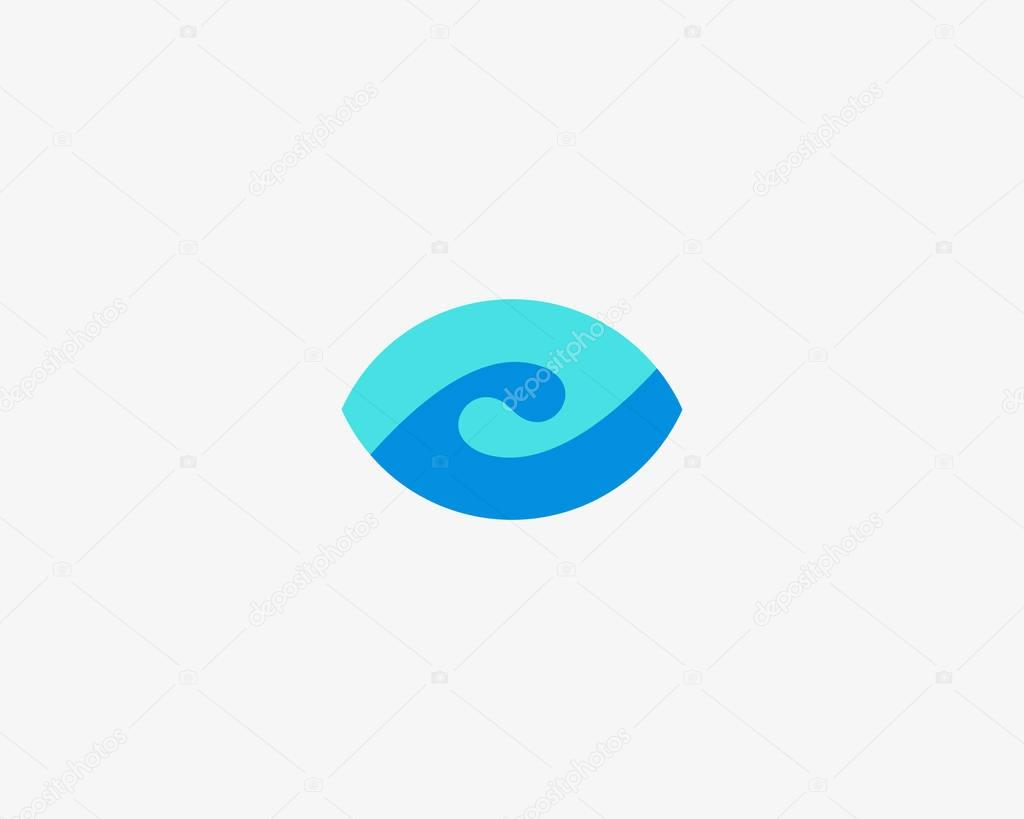 Eye wave logo design. Swirl shutter media vision logotype. Photo video camera sea surf vector symbol.
