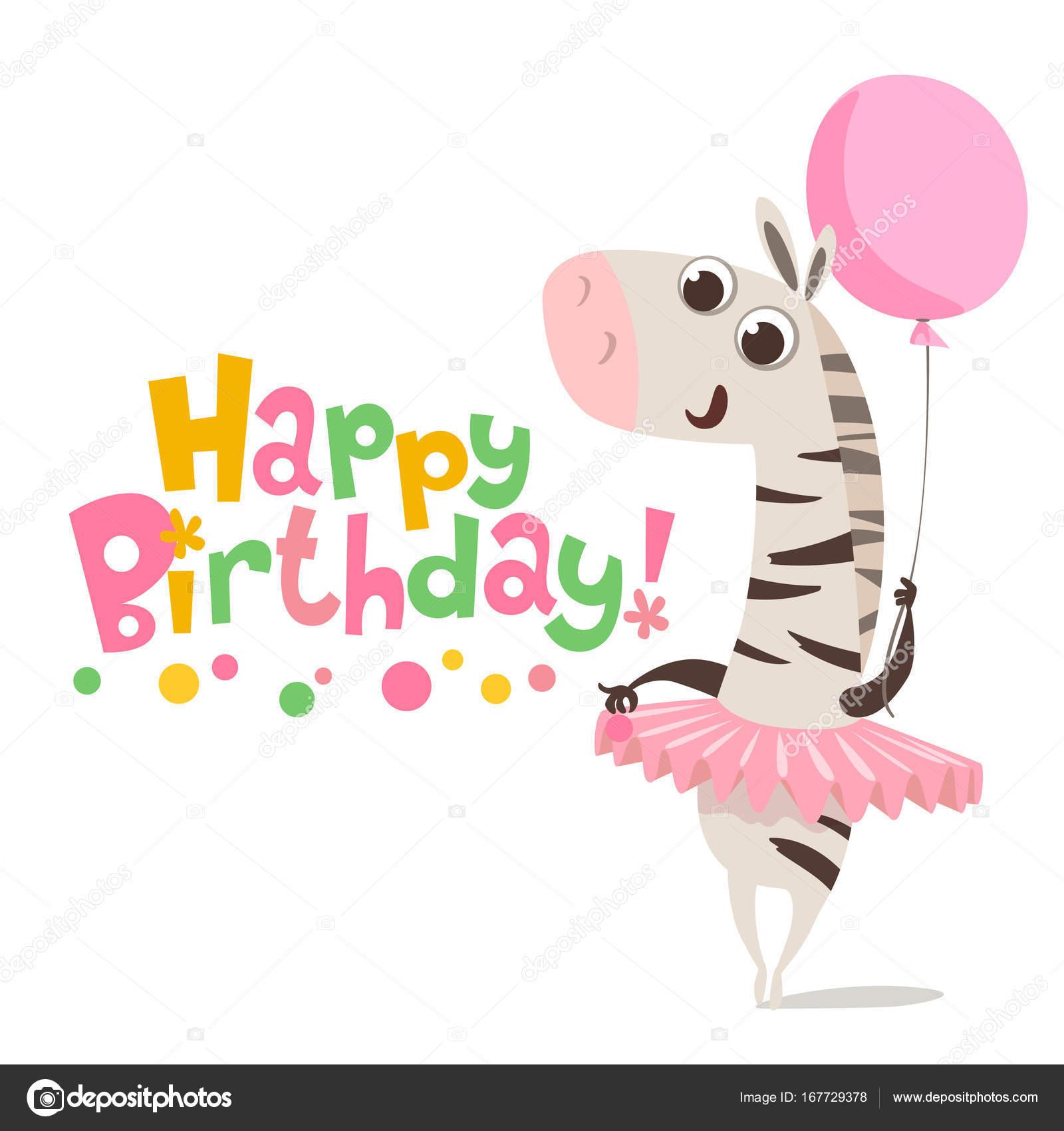 Happy Birthday Card With Cute Zebra Stock Vector C Giraffarte