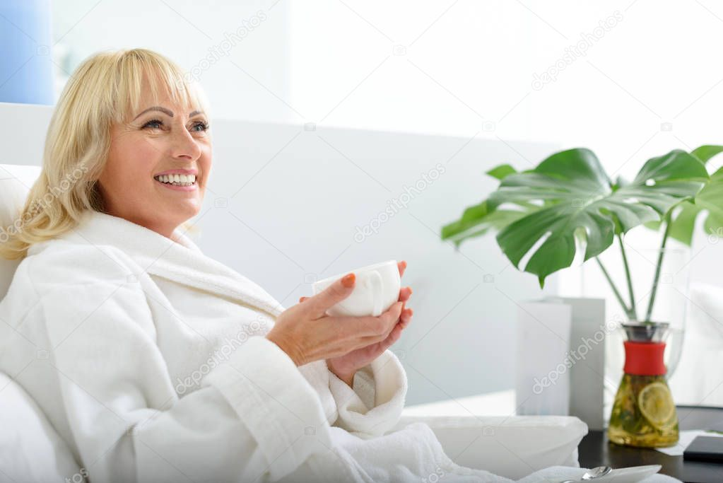 Joyful Middle Aged Woman Resting