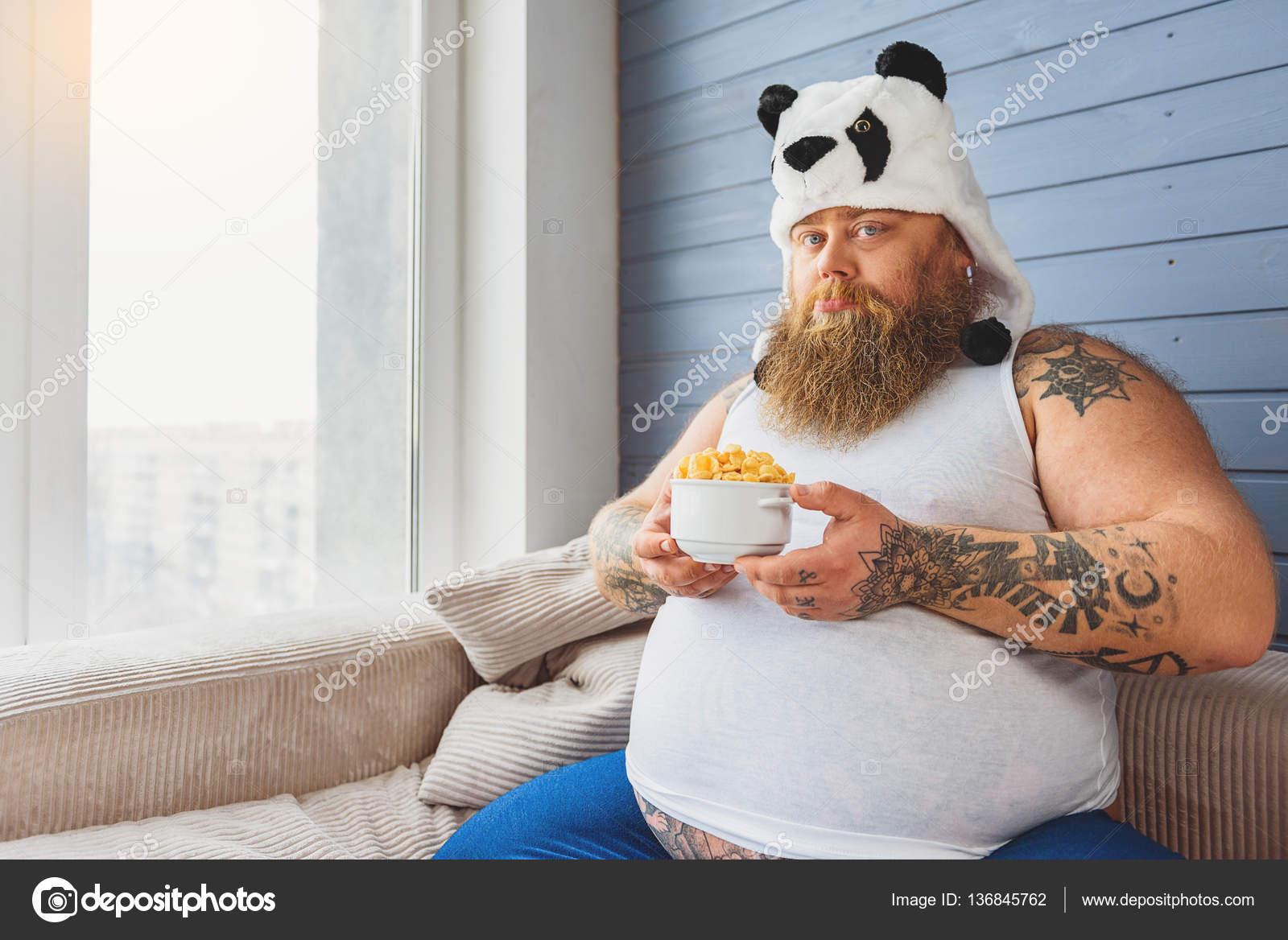 Boos Dikke Kerel Is Op Een Dieet Stockfoto