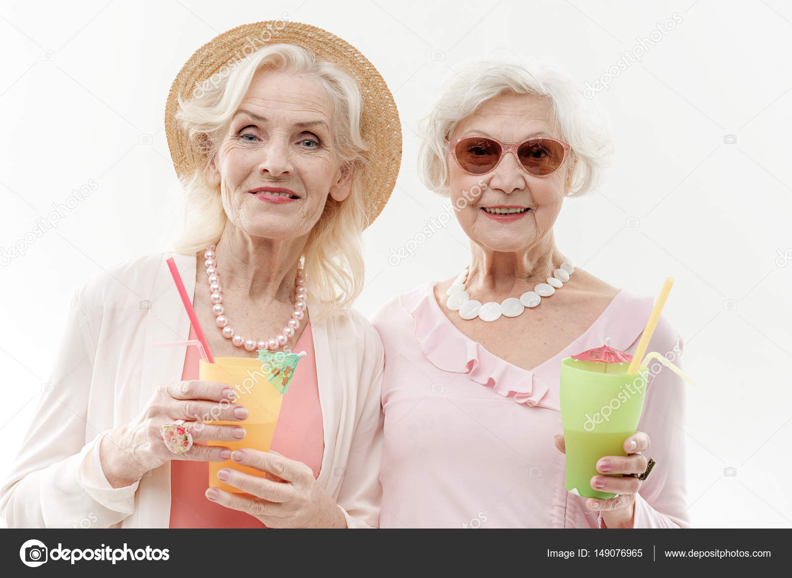 happy old women having fun with exotic drink — stock photo