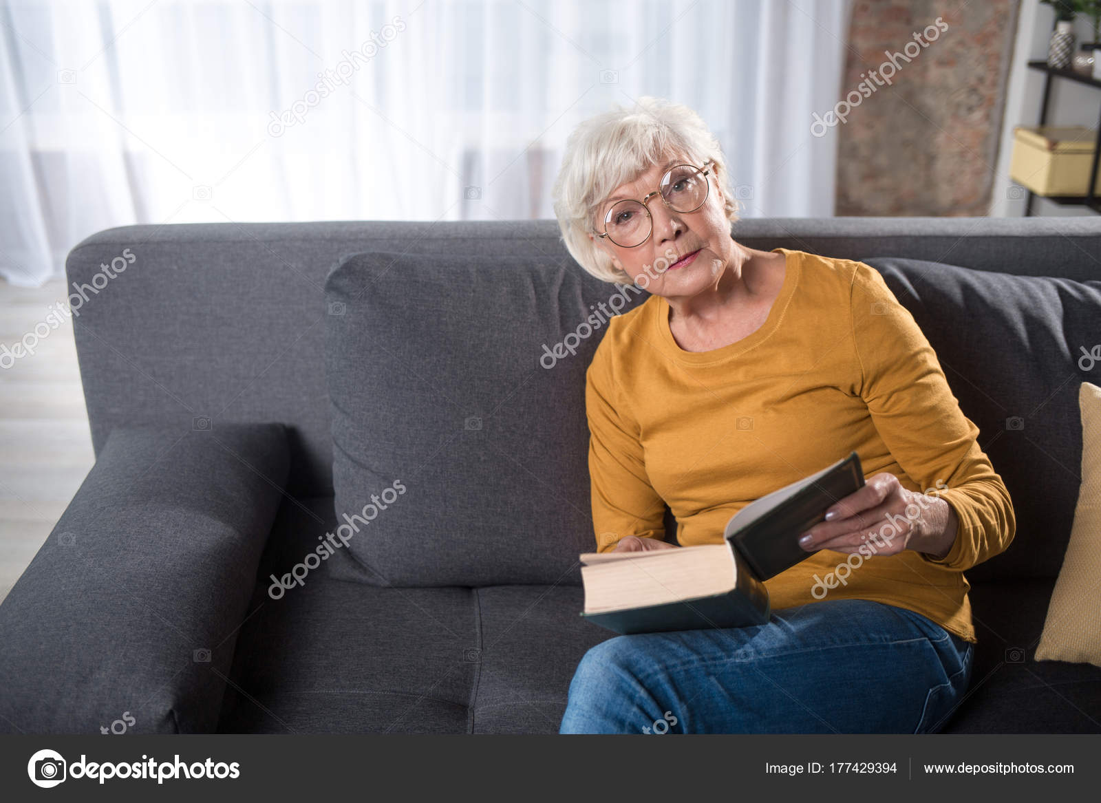 Old Lady Sitting On Couch Intelligent Pensive Old Lady Sitting