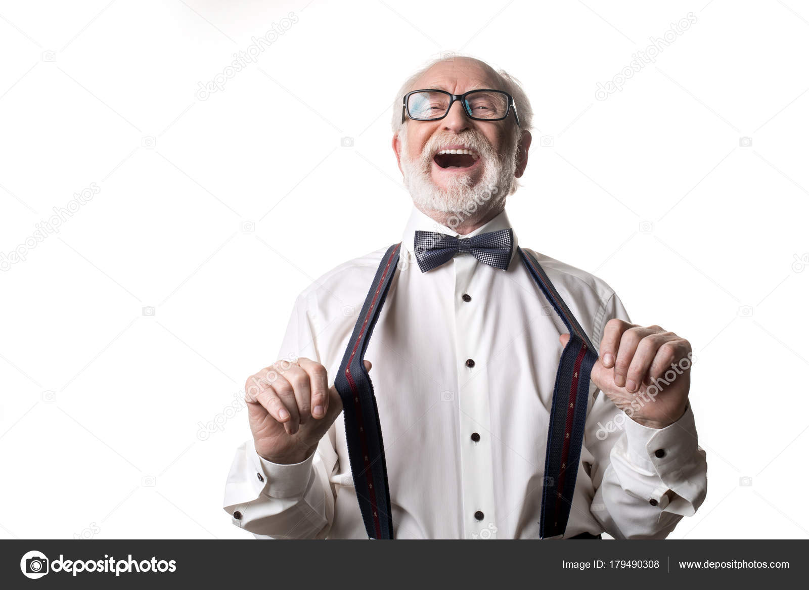 75d84df865ae Waist up portrait of joyful old male pulling away his suspenders and  laughing. Isolated on background — Photo by iakovenko123