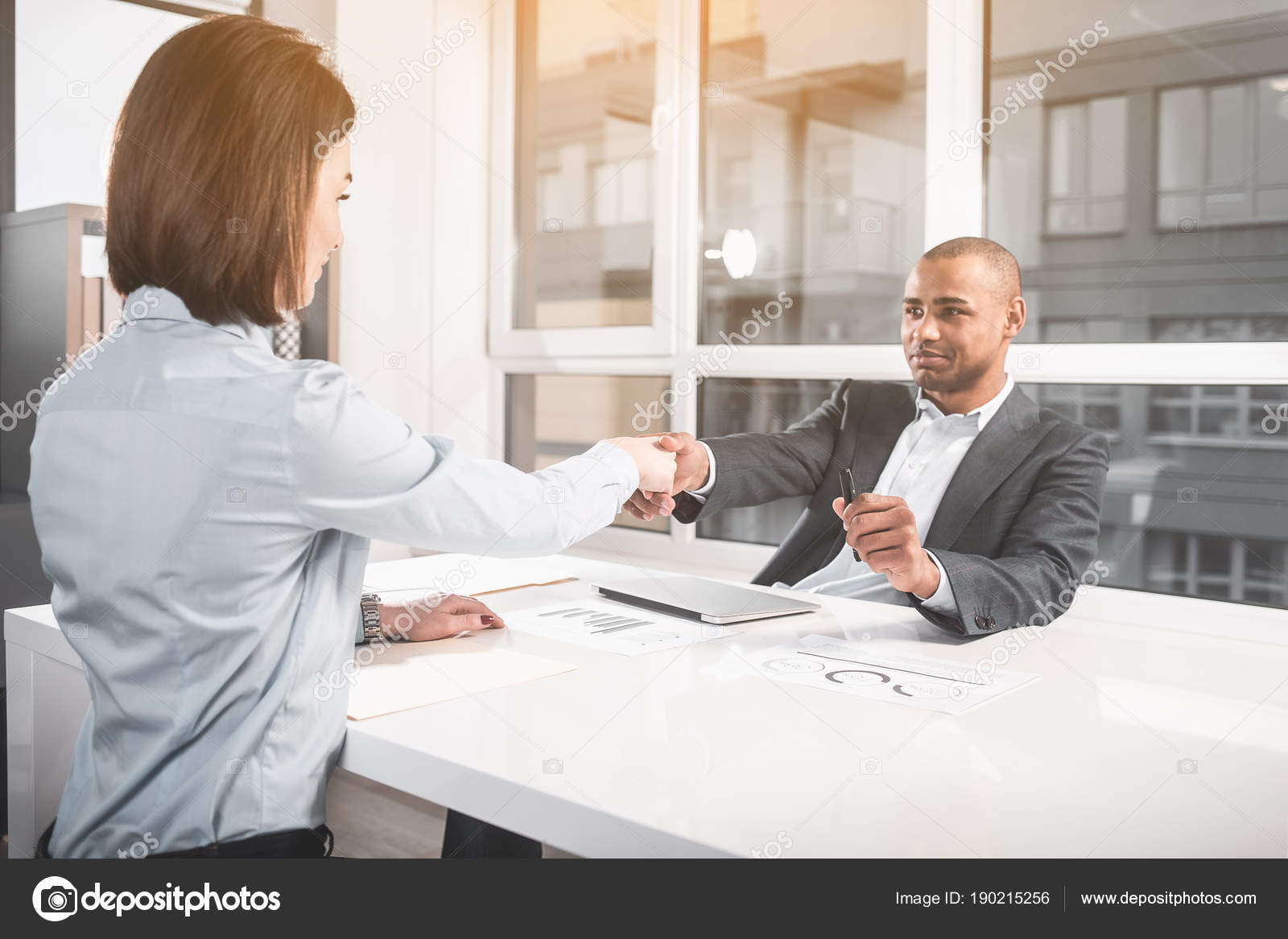 Respectable Businessman Coming To Agreement With Business Lady