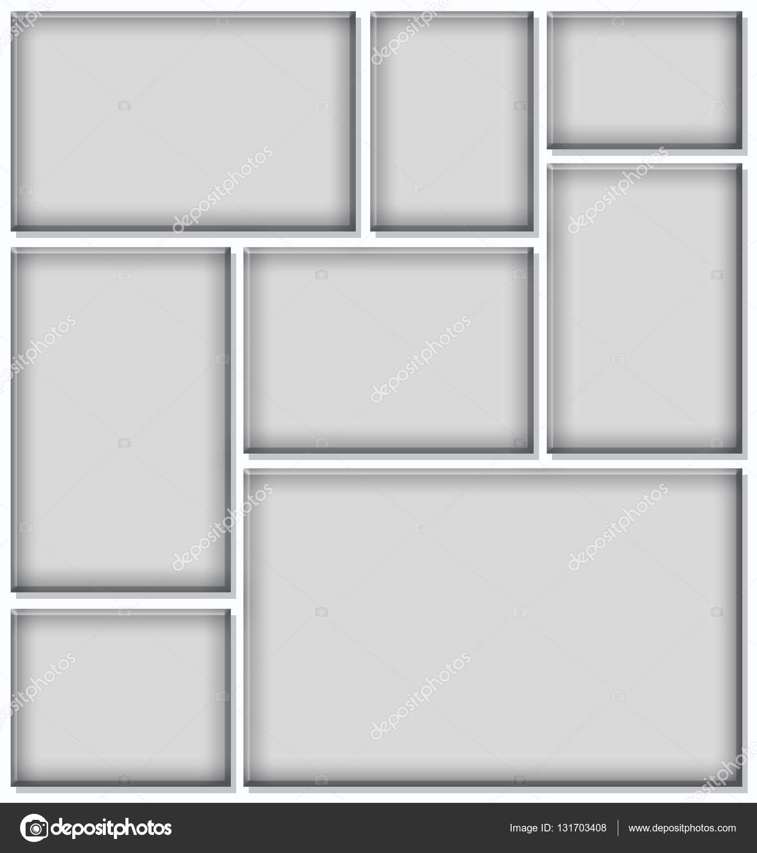 Marco gris para collage de fotos en fondo blanco — Foto de stock ...