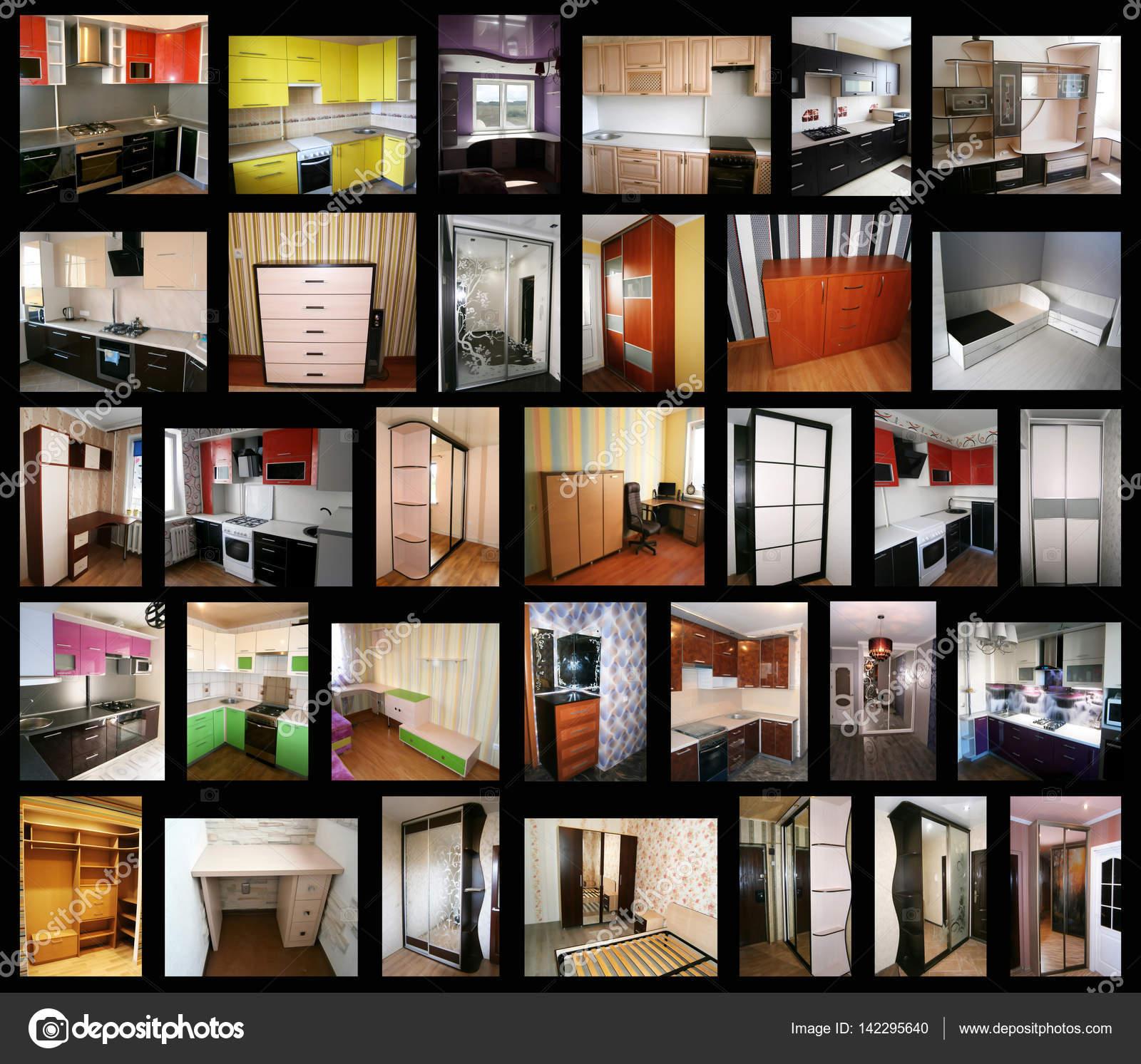 Collage zum Thema Möbel. Küchen, Schränke, Schränke Coupé, Tische ...