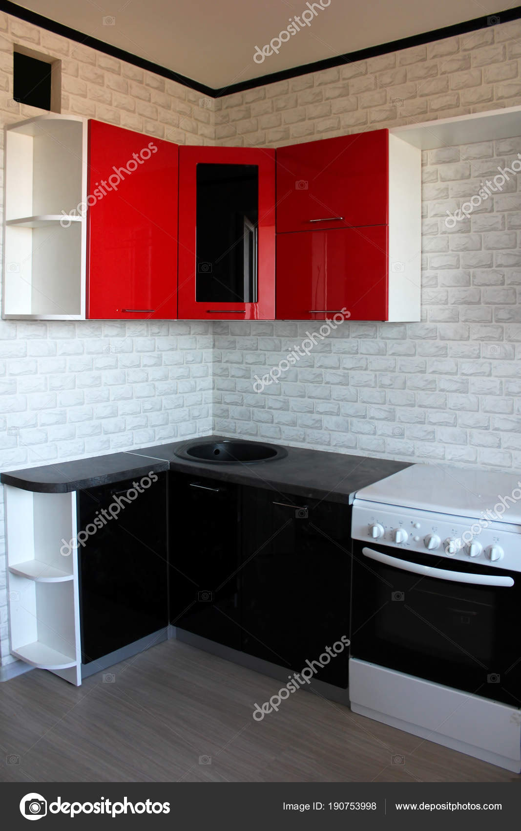 Black Red Kitchen Interior Design — Stock Photo © markasia #190753998
