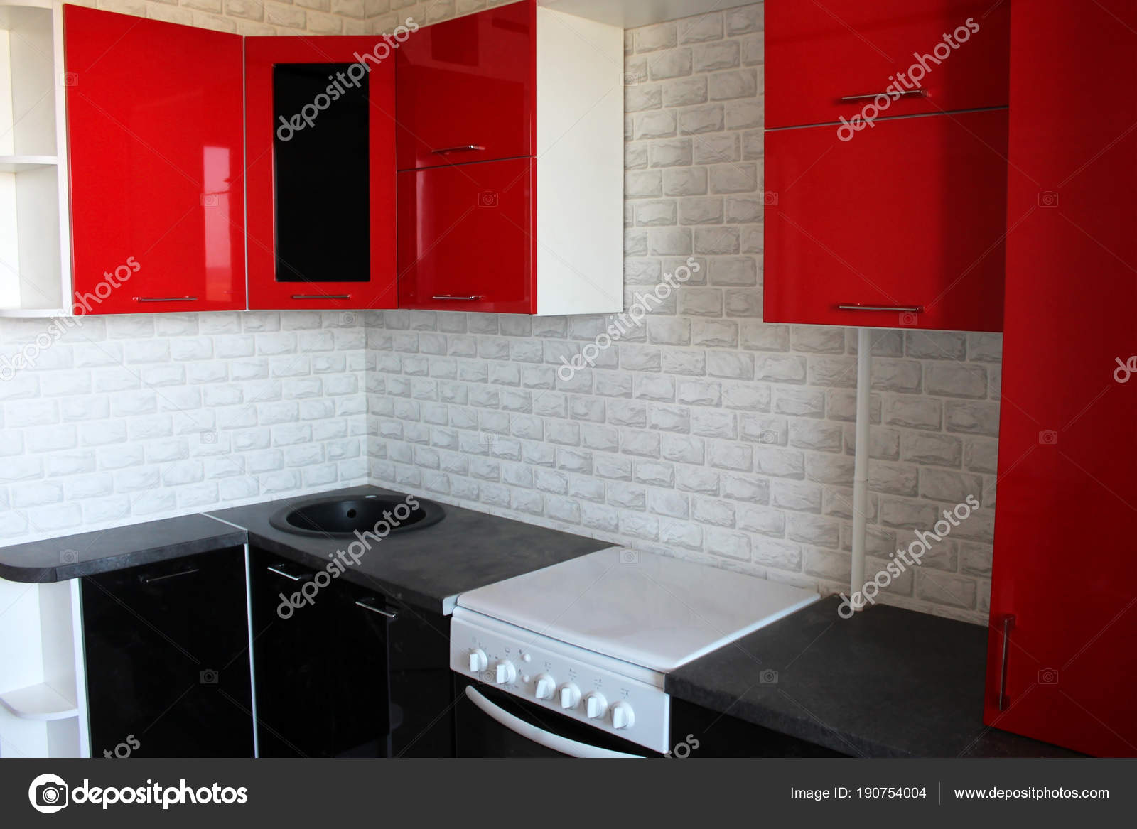 Pictures: red kitchen | Black Red Kitchen Interior Design ...