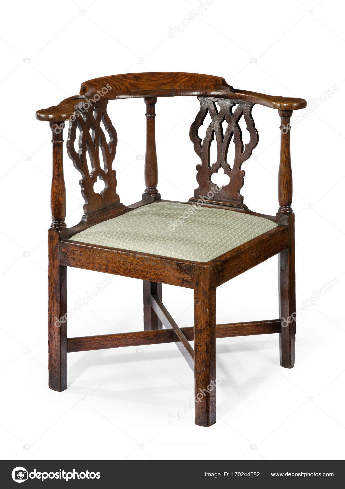 Corner chair old antique wooden mahogany — Stock Photo - Corner Chair Old Antique Wooden Mahogany — Stock Photo © JAK30