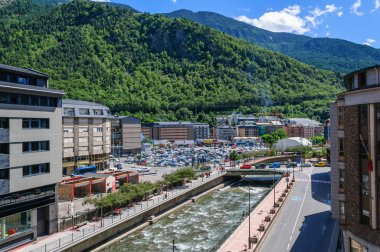 Cityscape the river Valira in Andorra la Vella city.