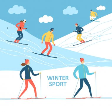 Winter athletes cartoon illustration