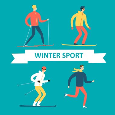 Winter athletes cartoon set