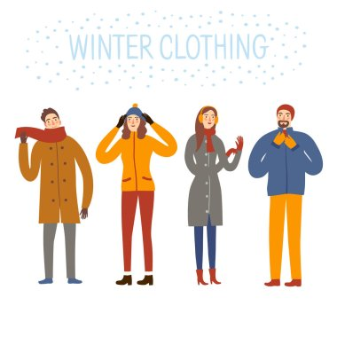 Set of  cartoon people wearing winter clothes