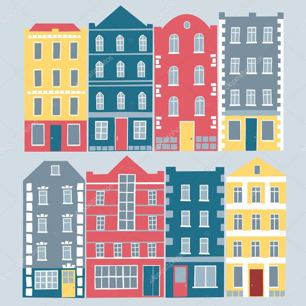 conjunto de edificios de colores dibujos animados de estilo europeo dibujado a mano aislada casas para su diseo u vector de shtonado