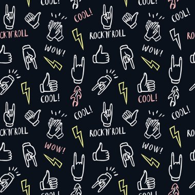 Pattern with hands showing rock and roll signs