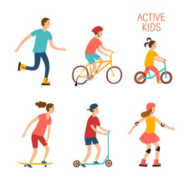 Active children riding and playing outdoor