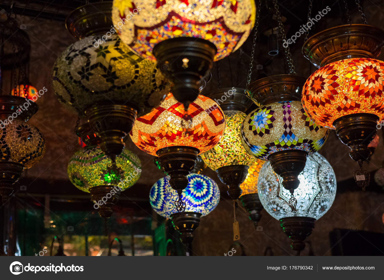 Beautiful Turkish Mosaic Lamps On Istanbul Bazaar. U2014 Stock Photo