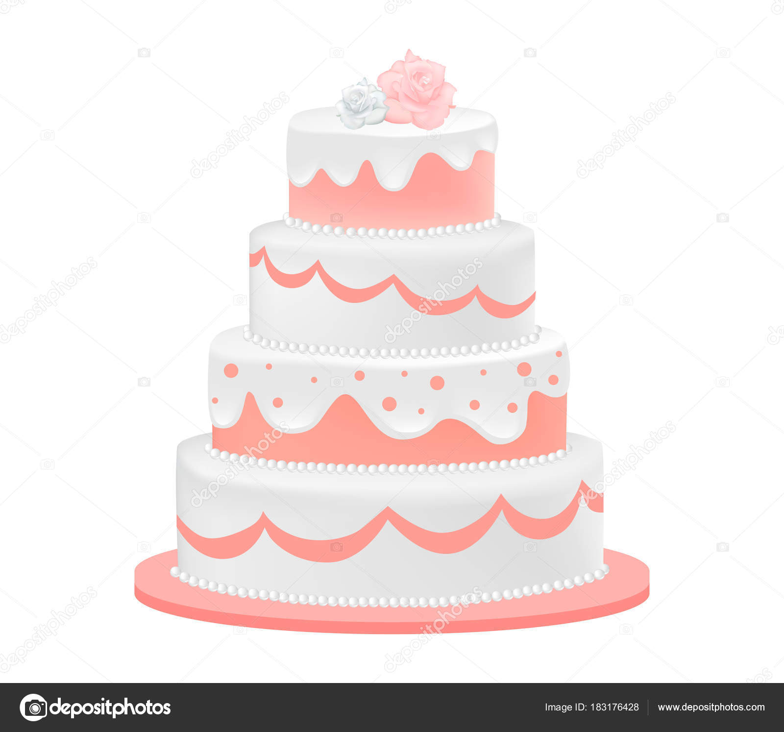 Wedding Cake Decorated With Roses Stock Vector Delices89 183176428
