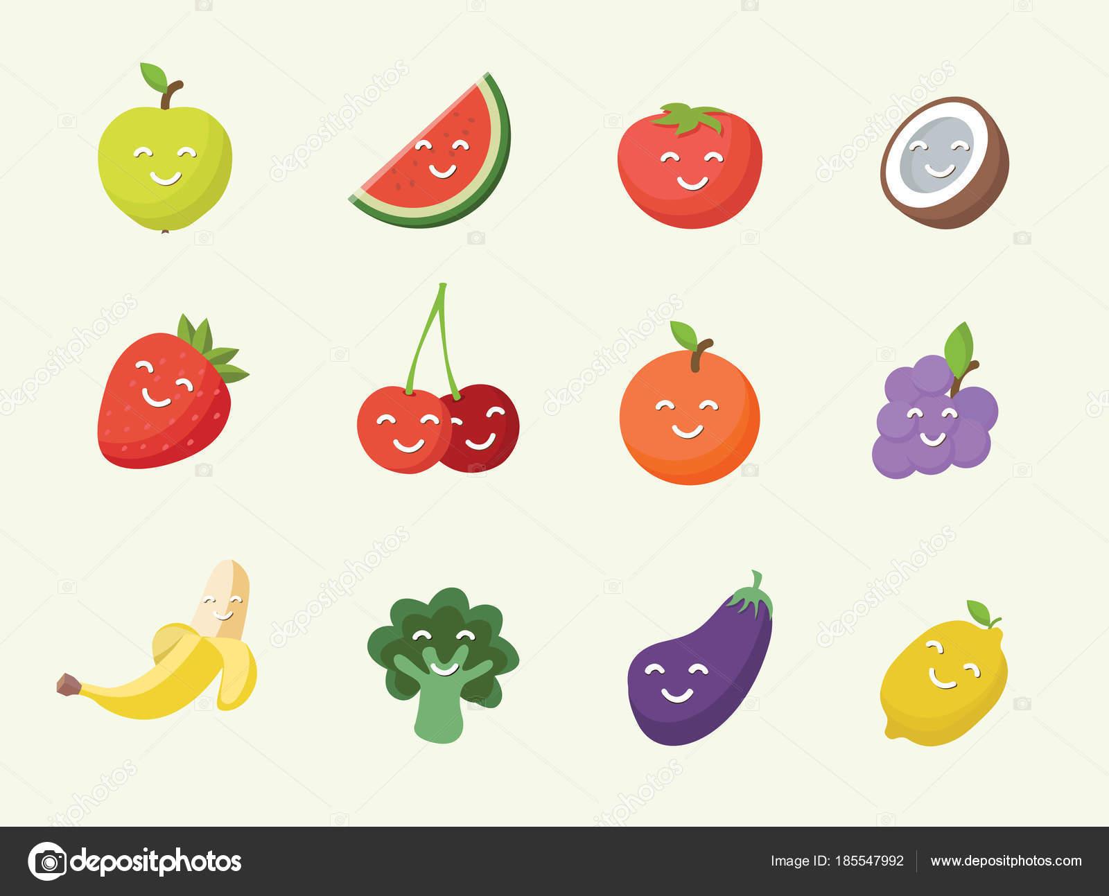 Laminas De Frutas En Ingles Feliz Sonriente Icono De