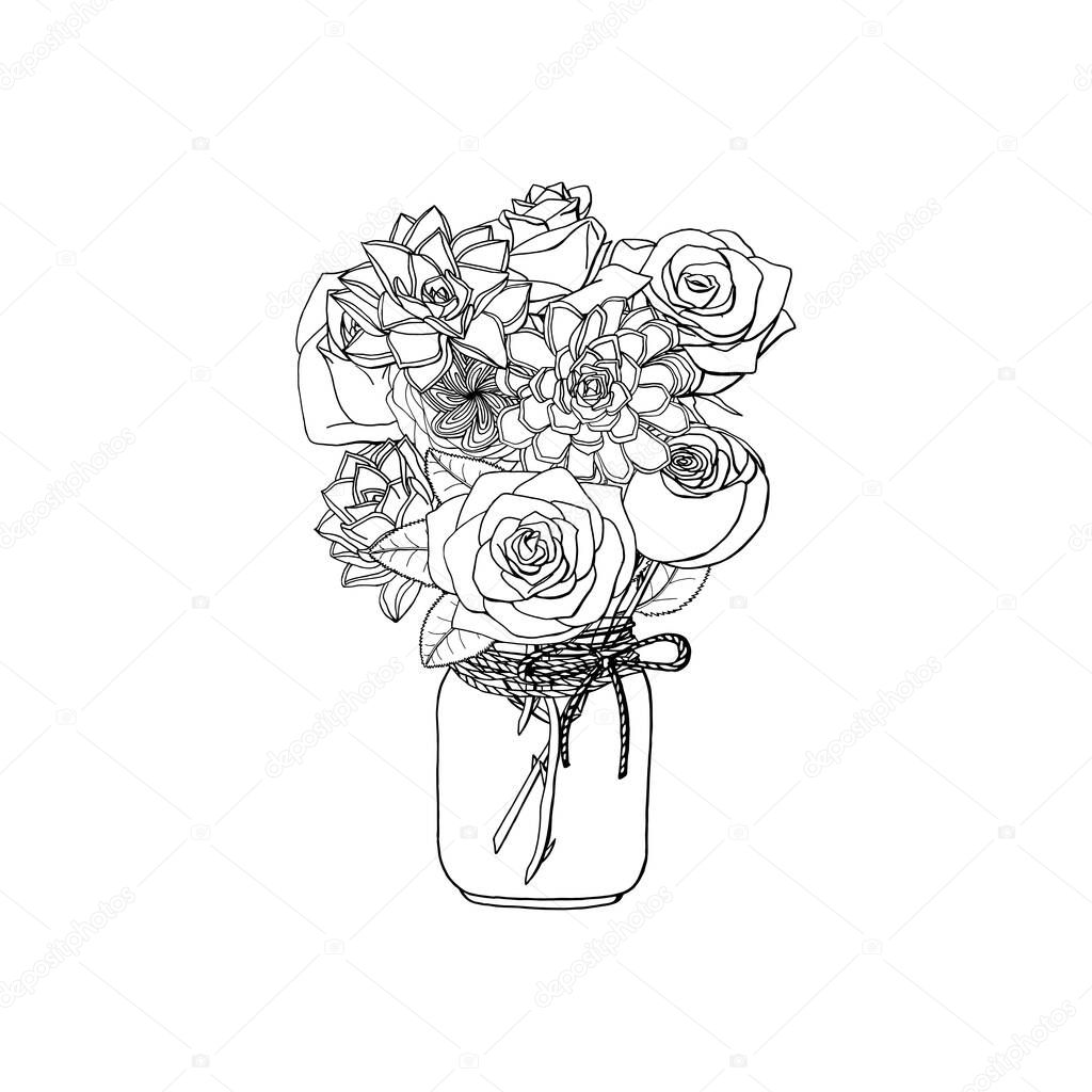 Hand Drawn Doodle Style Bouquet Of Different Flowers Roses Succulents Isolated On White Background Stock Vector Illustration Premium Vector In Adobe Illustrator Ai Ai Format Encapsulated Postscript Eps Eps Format