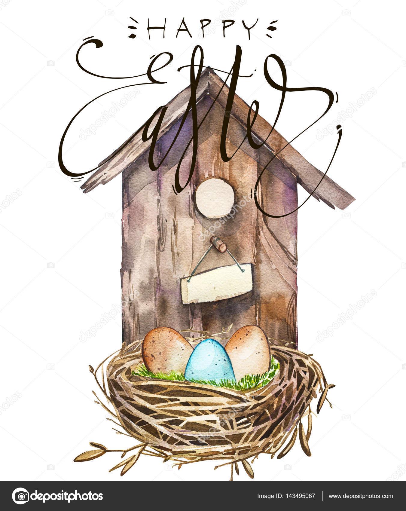 Acuarela casa para pájaros con nido de pájaros con huevos. Palabra -  Pascua. Nidal 558dfd8ec26
