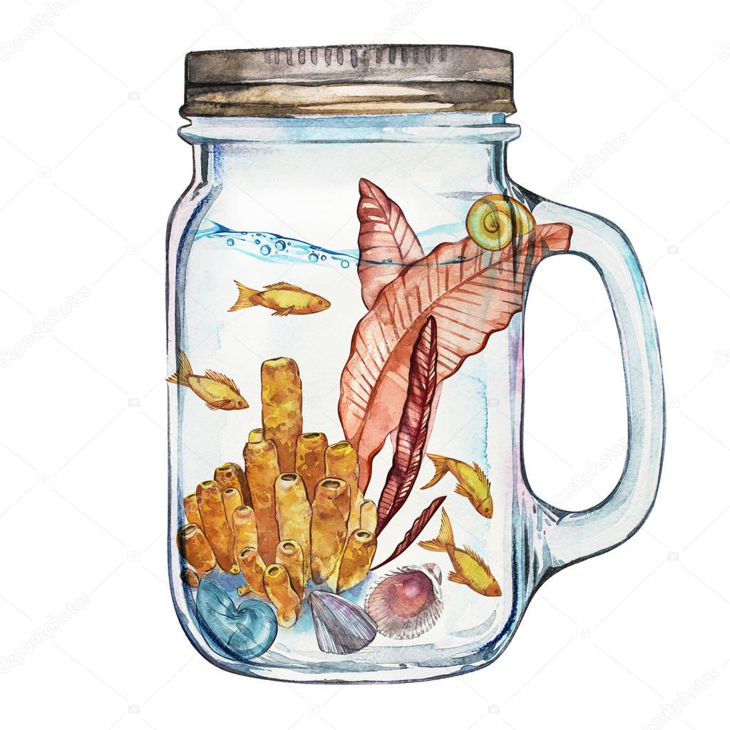 Isoleted Tumbler with Marine Life Landscape - the ocean and the underwater world with different inhabitants. Aquarium concept for posters, T-shirts, labels, websites, postcards.
