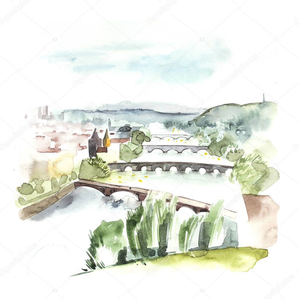 Watercolor painting showing a landscape in Czech Republic, Prague at summer time, with blue sky, clouds, green glade with bushes and trees. Hand drawn nature european background.