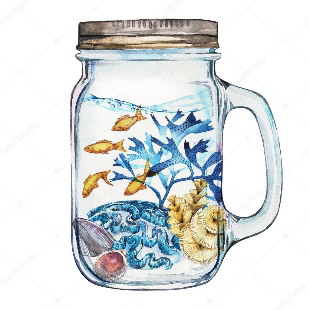 Isoleted Tumbler with Marine Life Landscape. Aquarium concept for posters, T-shirts, labels, websites, postcards.