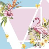 Banner, poster with flamingo, palm leaves, jungle leaf. Beautiful vector floral tropical summer background. EPS 10