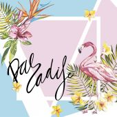 Banner, poster with flamingo, palm leaves, jungle leaf. Beautiful vector floral tropical summer background. Lettering composition - Paradise. EPS 10