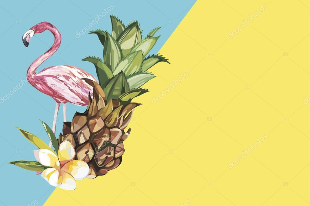 Pineapple with tropical flowers and Flamingo. Element for design of invitations, movie posters, fabrics and other objects. Isolated on white. Vector EPS 10