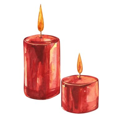 Watercolor Christmas Clipart - Red Candles isolated on white background.