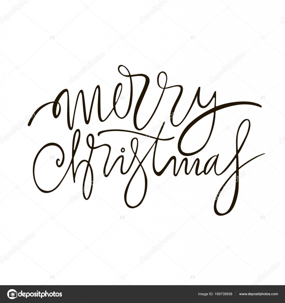 Merry Christmas Greeting Lettering Phrase Holiday Letter Ink