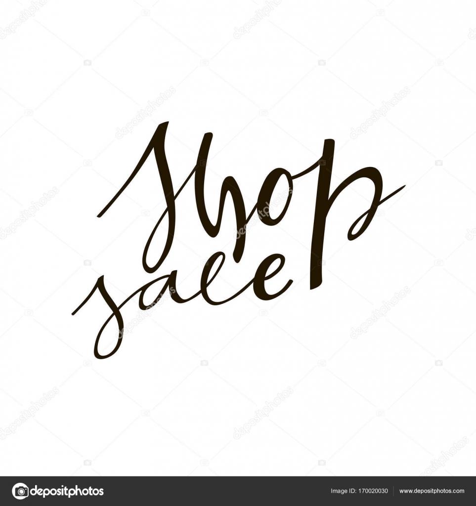 Shop Verkauf Schriftzug Satz. Black And White Hand Schriftzug ...