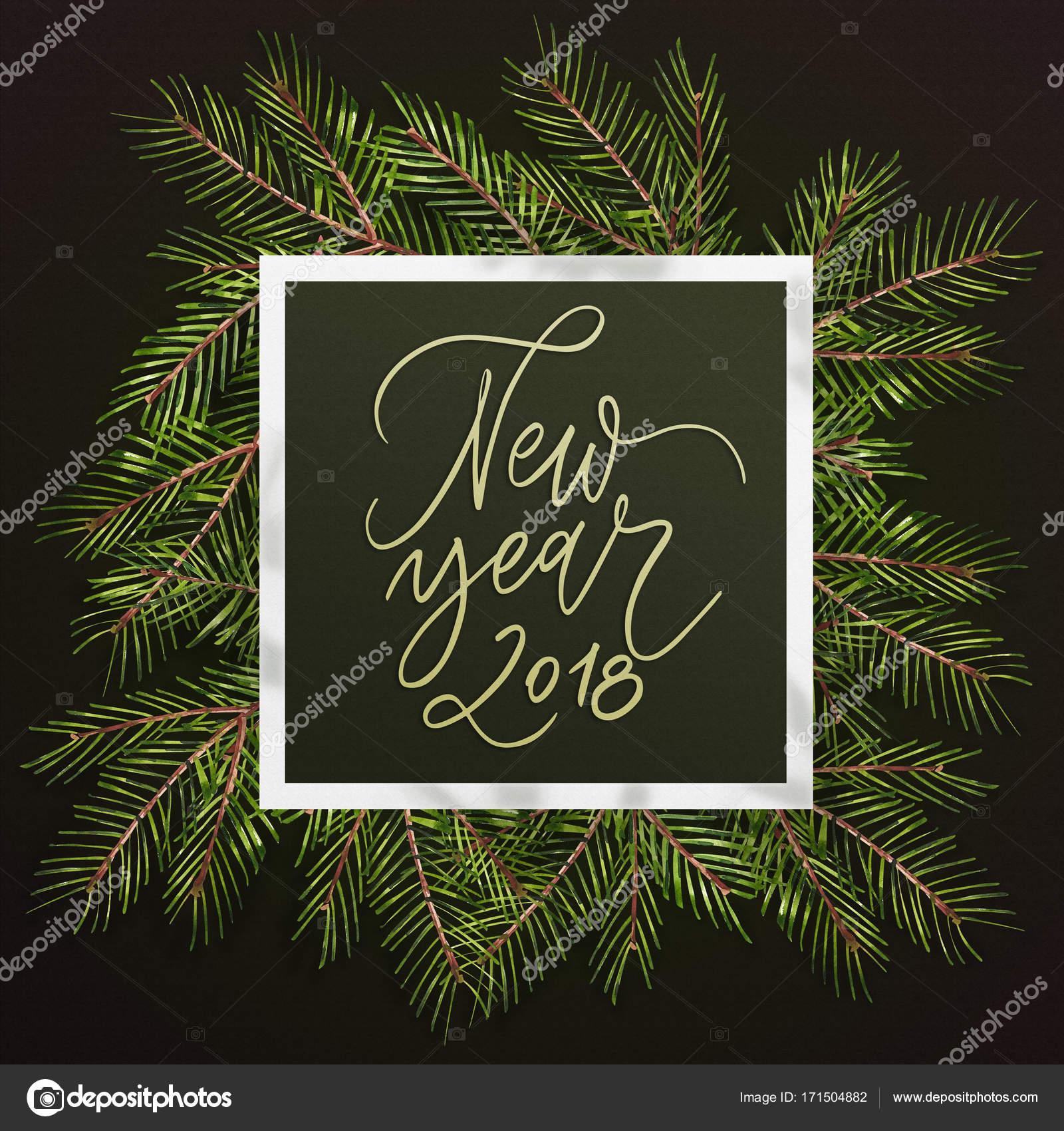Feliz Ano Novo 2018 Frase Texto De Natal Pinheiro Ramos Fundo