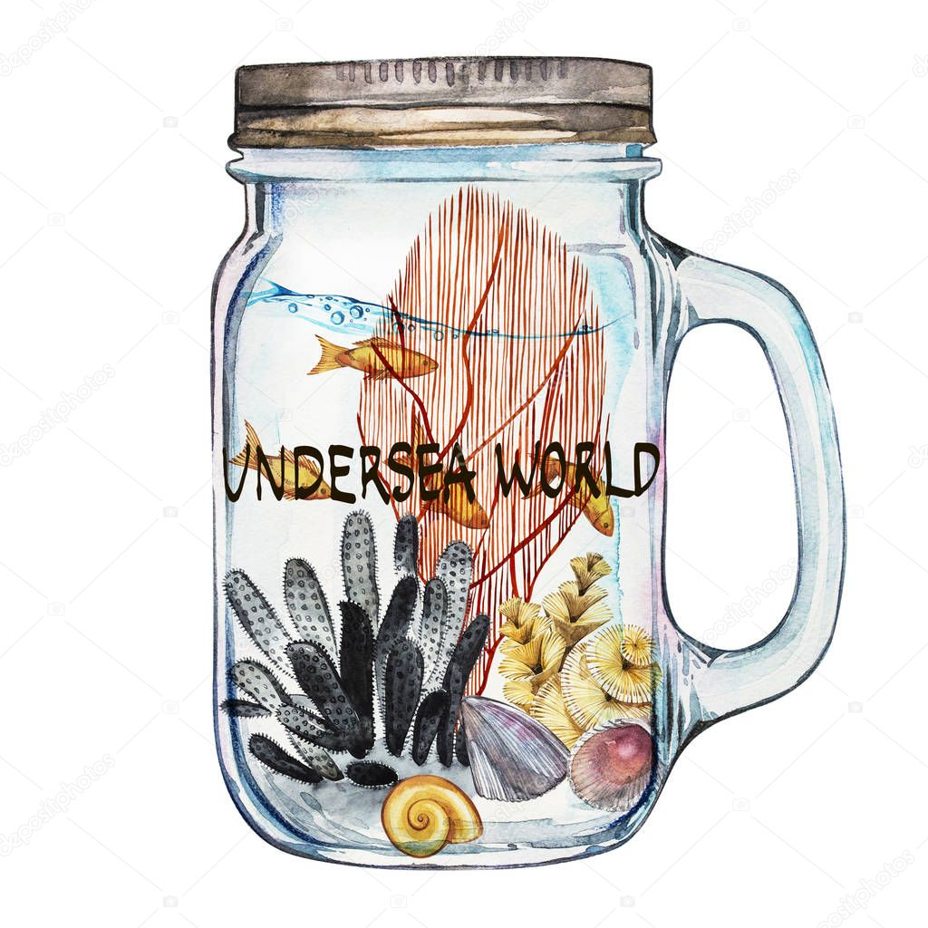 Word-Undersea world. Isoleted Tumbler with Marine Life Landscape - the ocean and the underwater world with different inhabitants. Aquarium concept for posters, T-shirts, labels, websites, postcards.
