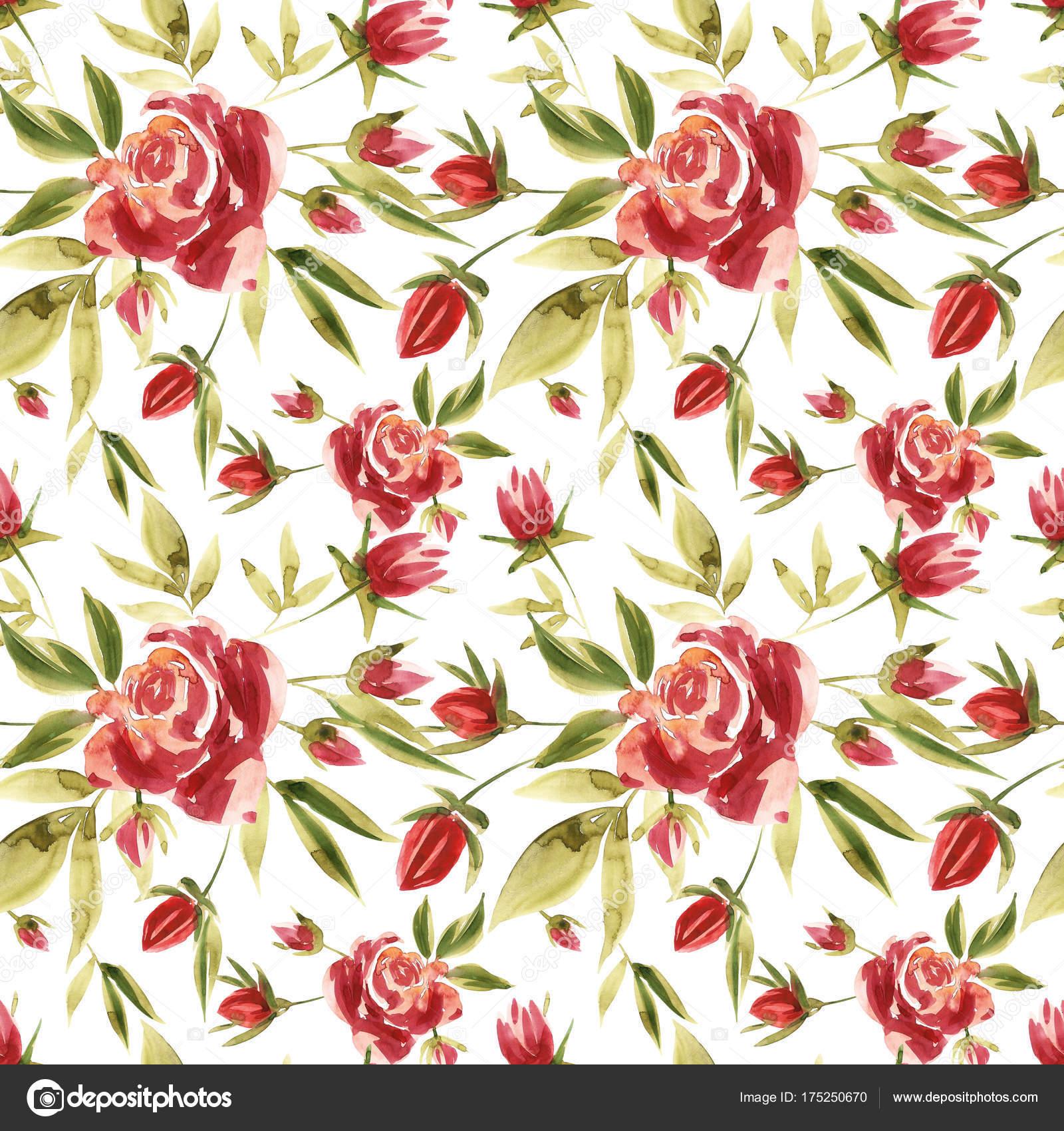 Blumen Aquarell Abbildung. Nahtlose Muster. Muttertag, Hochzeit ...