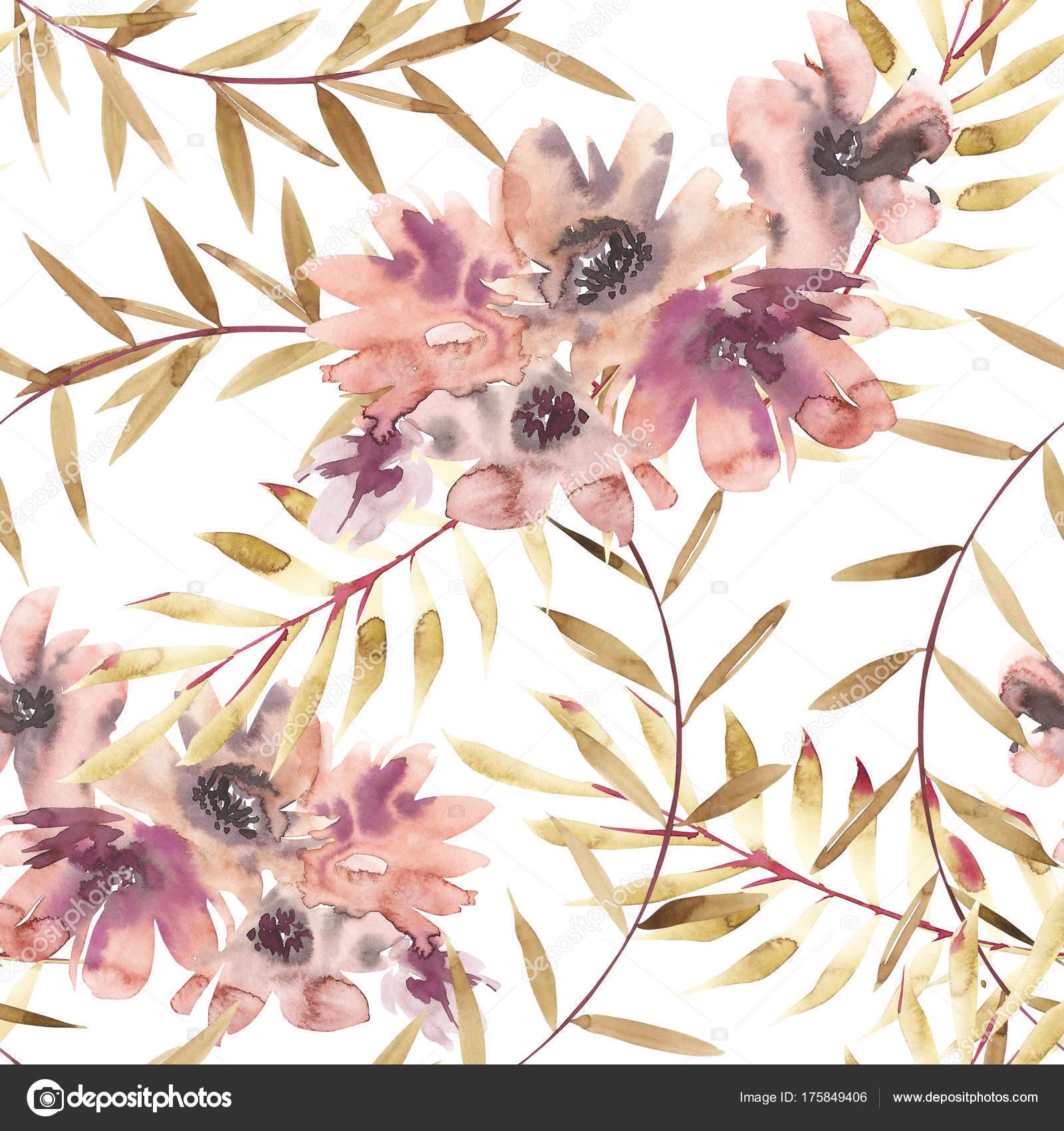 Kvetiny Akvarel Ilustrace Vzor Bezesve Matek Den Svatba