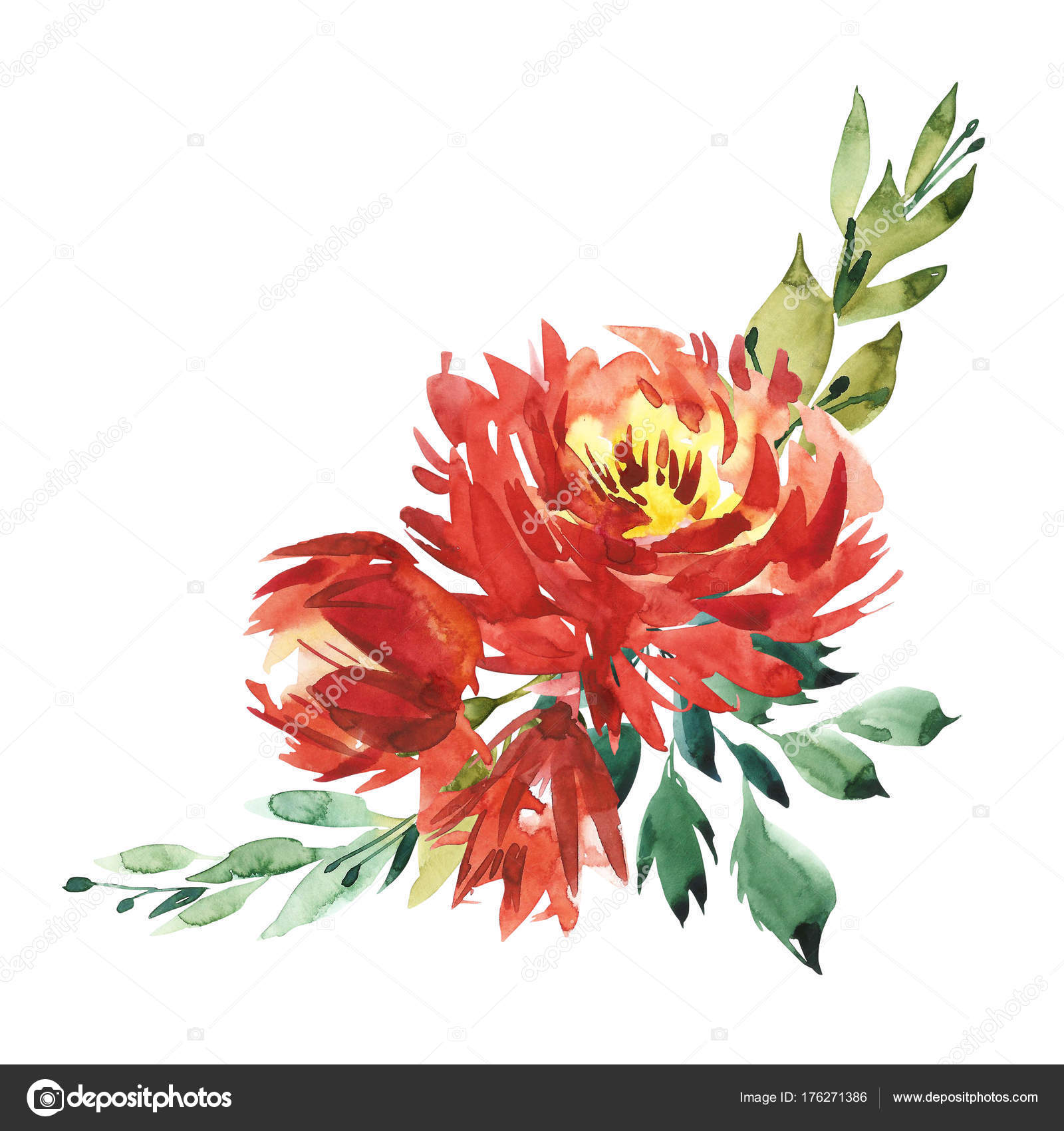 Flowers watercolor illustration. A bouquet with a big red peony and ...