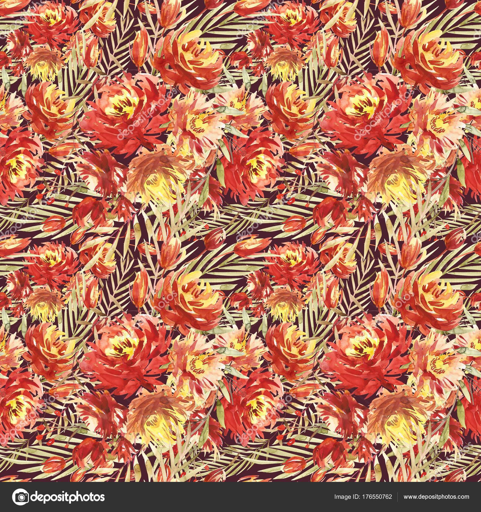 Patrón sin fisuras con grandes flores acuarela por peonías rojas ...