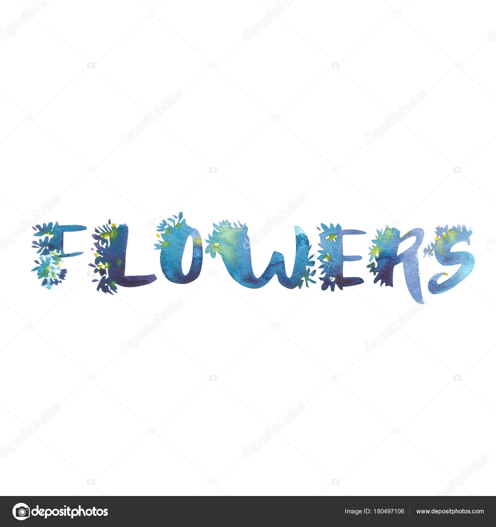 Watercolor word-Flowers  Exclusive Custom Characters  Hand