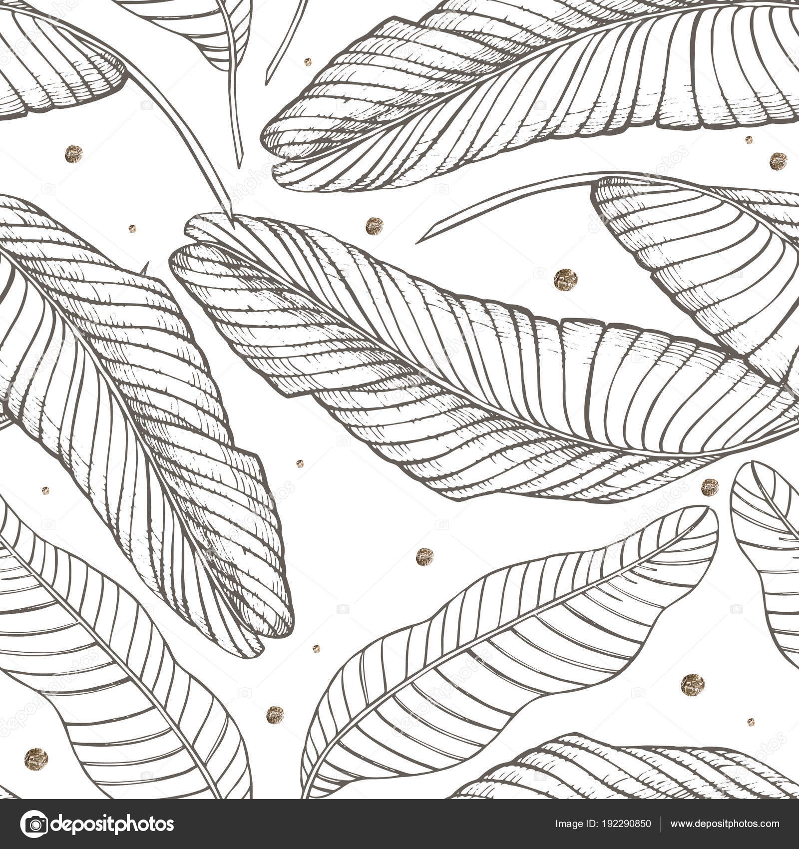 Jungle Leaves Seamless Vector Floral Pattern Background Tropical