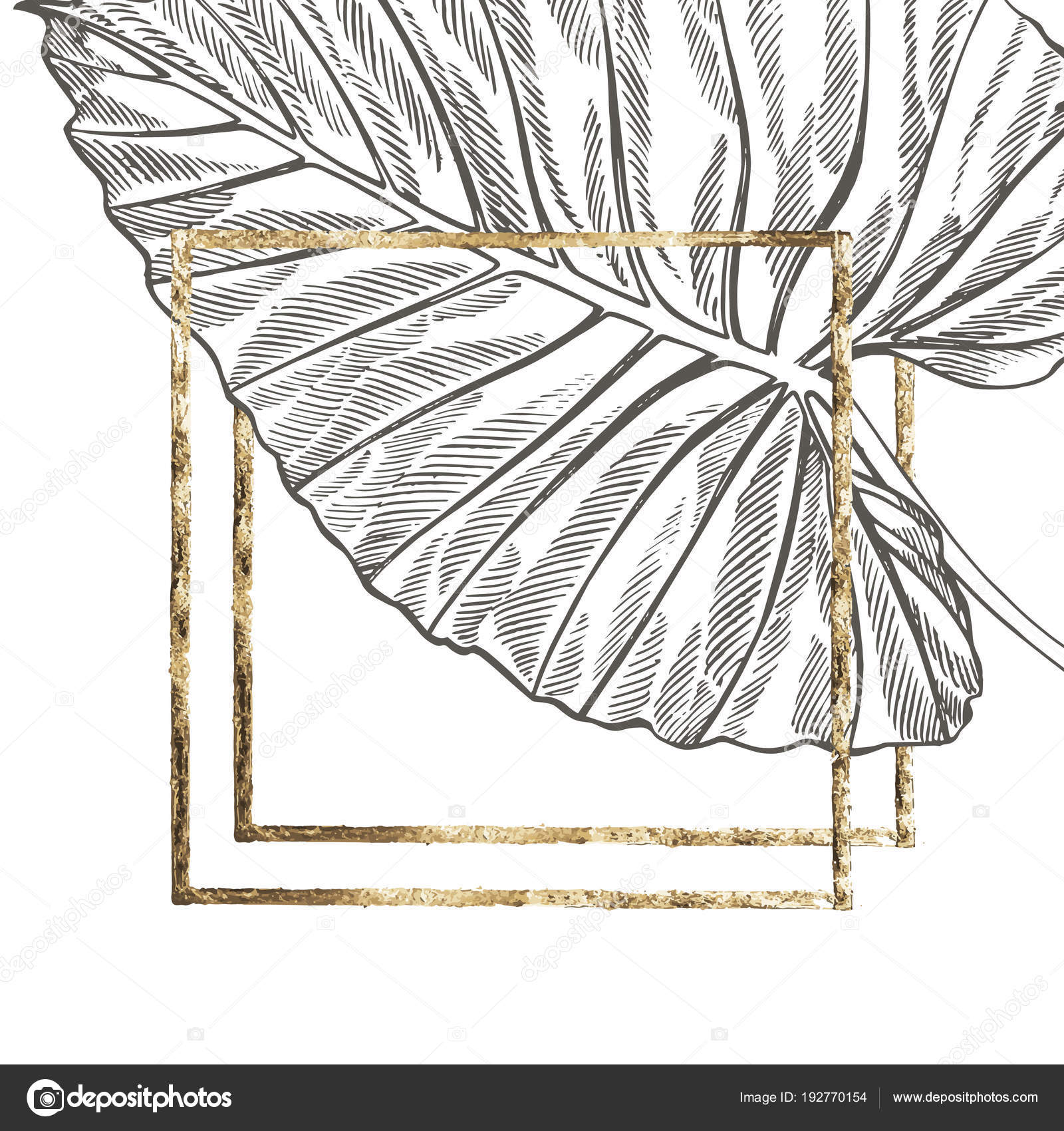 Summer tropical leaves vector design with gold frame floral summer tropical leaves vector design with gold frame floral background illustration invitation or card design with jungle leaves vector by asetrova stopboris Images