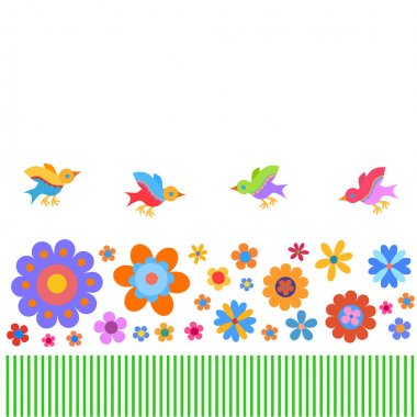 colorful flowers and birds