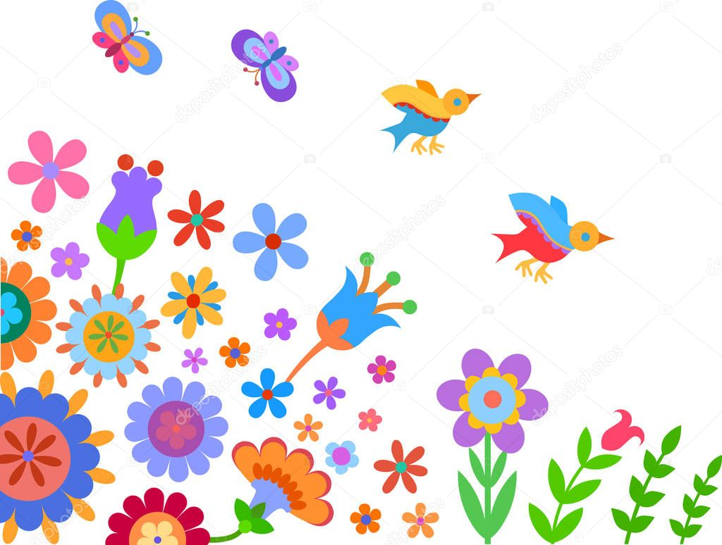 colorful flowers, birds and butterflies