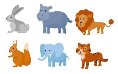 Zoo wild animals colorful set