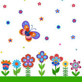 Colorful cute flowers and butterfly