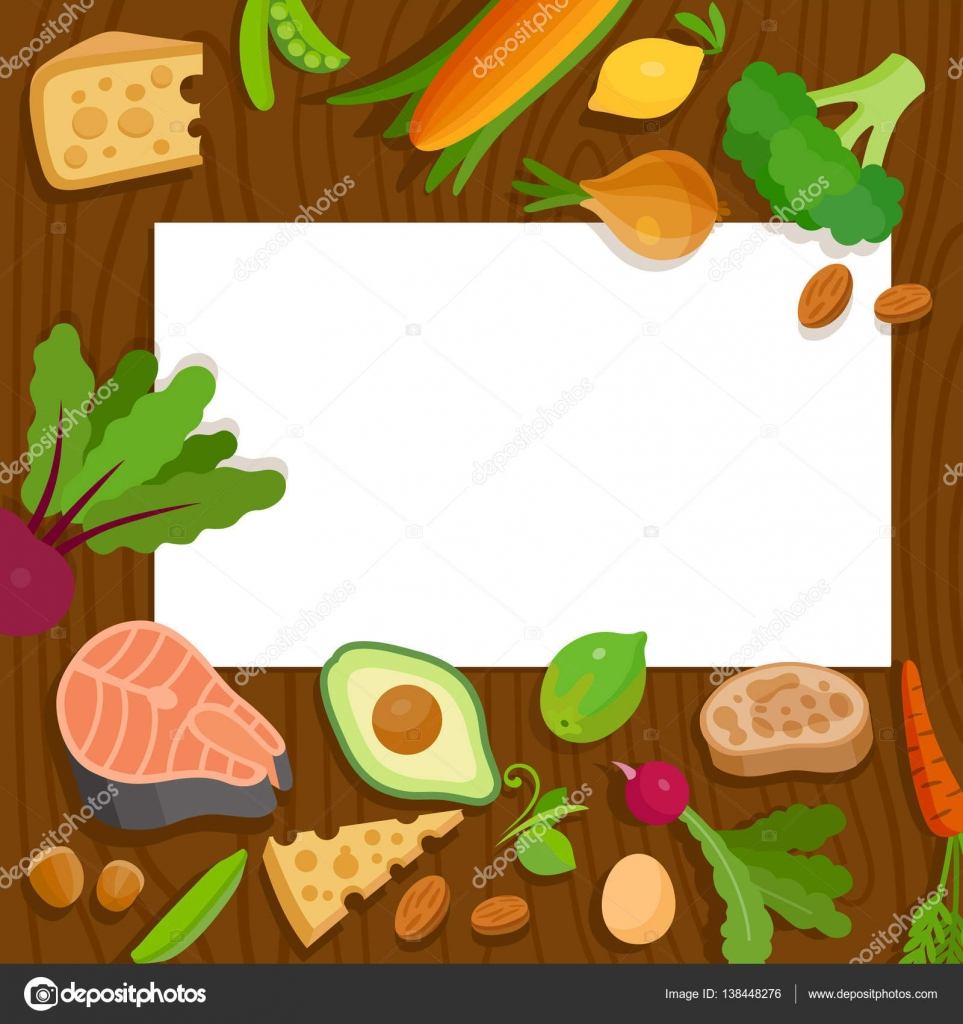 Plant top view vector in group download free vector art stock - Healthy Food And Paper Vector Blank Template Top View Vegetable Egg Salmon Nut Cheese Lime Lemon Ciabatta Avocado Green Peas Vector By