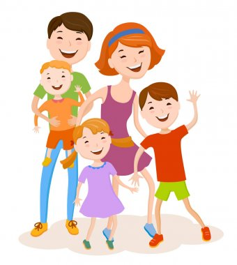 cheerful cartoon family in colorful clothes