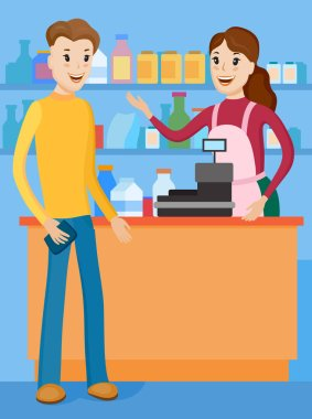 seller and buyer at store
